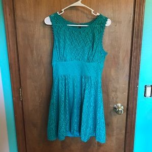 Turquoise Formal Girl's Dress with Lace Detail